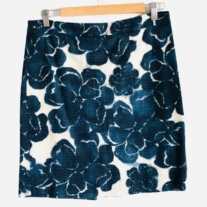 J CREW pencil skirt linen blend blue floral